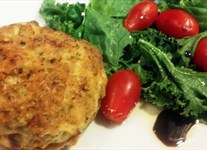 Crab Cakes with EVOO & Balsamic Salad Greens